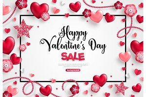 valentines day sale on white background.