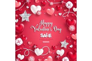 Valentine's day sale on red background