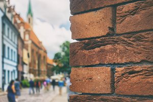 Red bricks in the old town of Riga