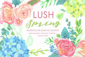 Lush Spring Watercolor Design Set