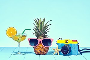 Hipster Pineapple in Trendy Sunglass