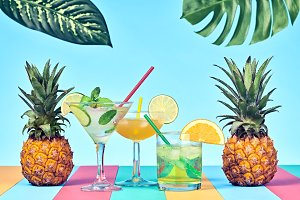 Two Tropical Pineapple with Cocktail
