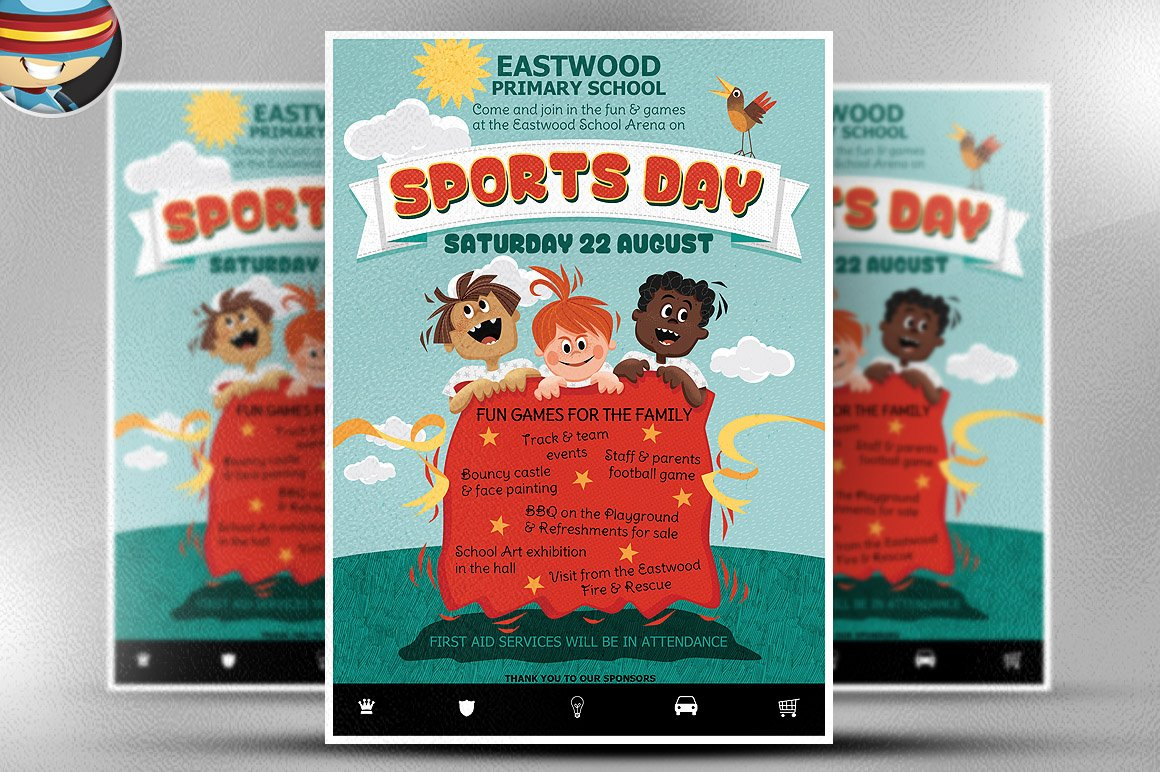 kid s sports day flyer template flyer templates on creative market