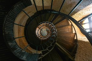 Spiral Staircase In Abandoned House