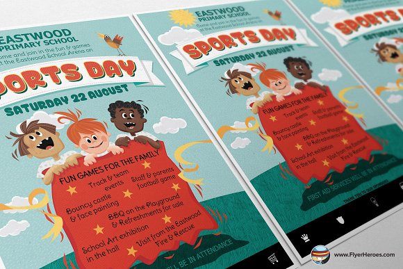 Kids Sports Day Flyer Template Flyer Templates on Creative Market – Sports Flyers Templates Free