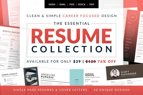 essential resume collection resume templates creative market