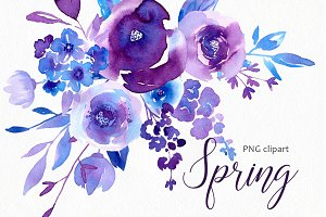 Spring Ultraviolet & Blue Flowers