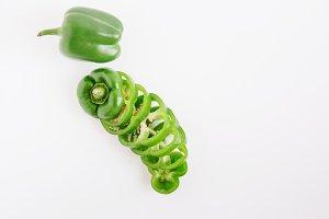 Fresh green bell pepper.