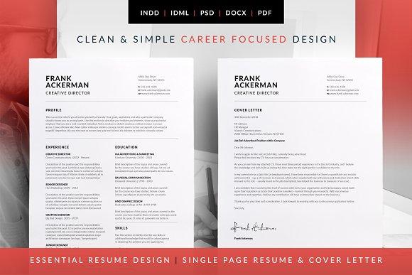 essential resume frank resume templates creative market