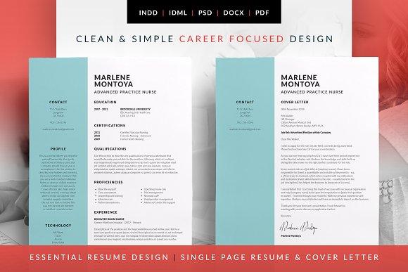 Essential Resume - Marlene ~ Resume Templates ~ Creative Market