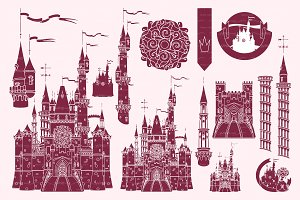 ♥ vector Castle fortress stencil 02