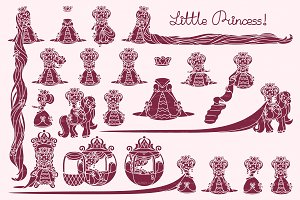 ♥ vector Little Princess stencil 02