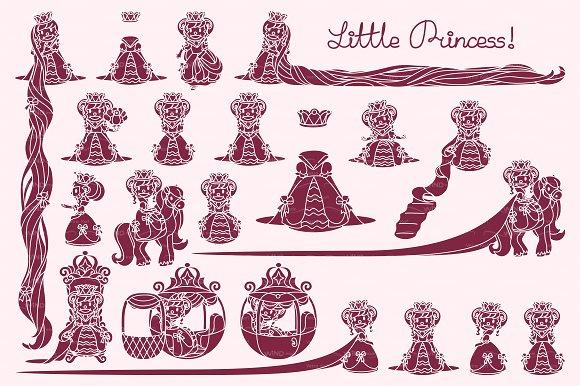 vector Little Princess stencil 02