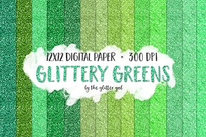 Greens Glitter Digital Paper