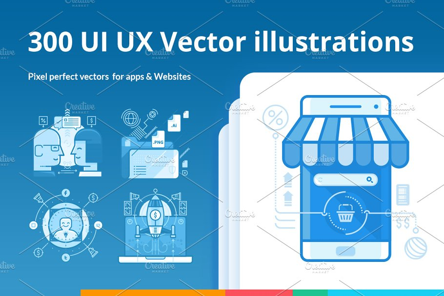 300 UI UX Illustrations