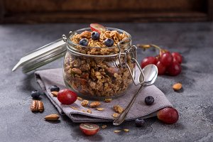 Healthy snack with granola oats