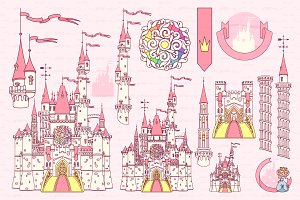 ♥ vector Castle fort color items 03