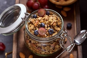 Healthy granola snack for breakfast