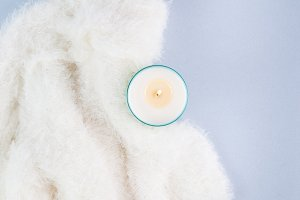 cozy blanket and candle