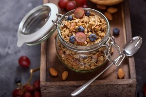 Granola with berries breakfast snack