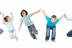 Happy children jumping