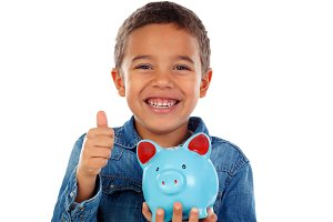 Funny child holding money box