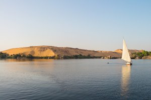 Nile sailing sunset, Egypt