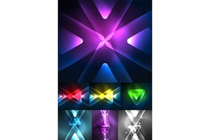 Set of abstract backgrounds - glowing neon color light effects