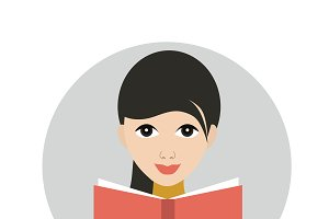Girl reading a book.Flat vector icon