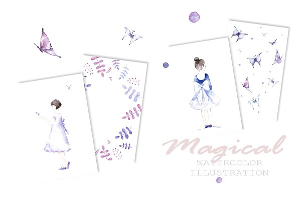 Magical set with butterflies
