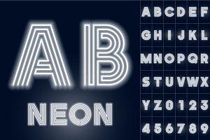 Alphabet of white neon tubes.