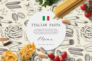 Hand Drawn Italian Pasta Set