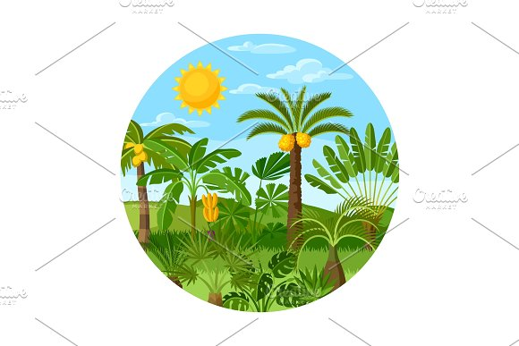 Card With Tropical Palm Trees Exotic Tropical Plants Illustration Of Jungle Nature