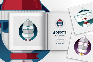 Robots Flat Illustrations