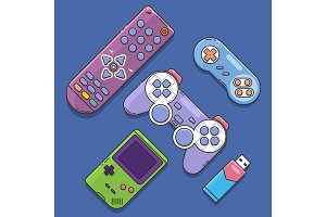 Game joystick and controller set.. Control console for video game.Vector illustration