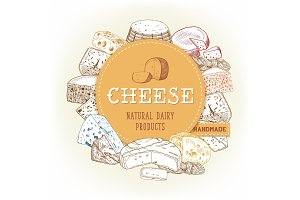 Cheese food banner with gouda and cheddar, chechil