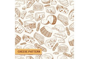 Sketch seamless pattern of cheese product