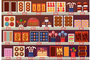 Confectionery sweets at stall or stand at shop
