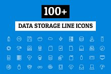100+ Data Storage Line Icons