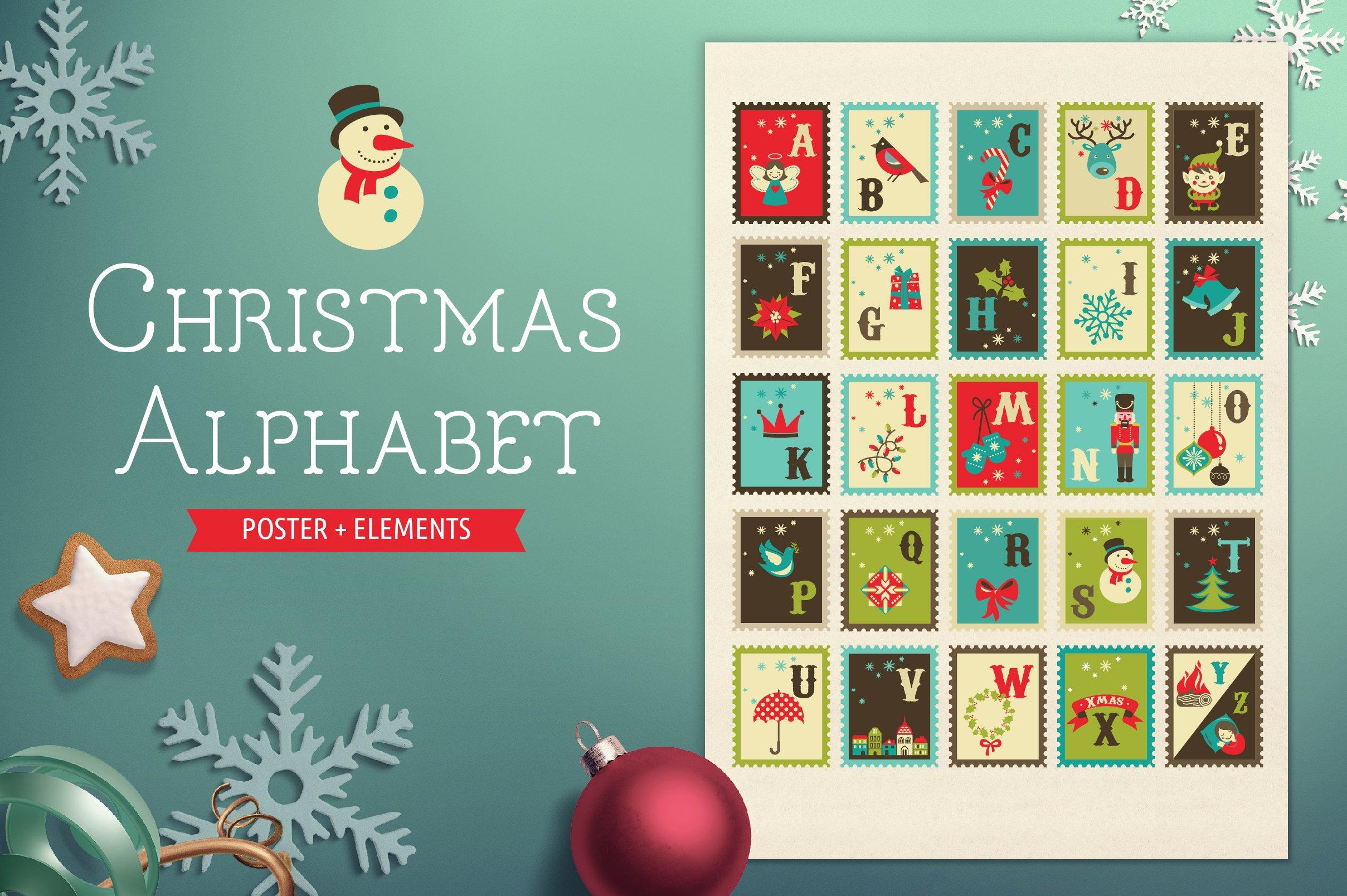 Christmas Alphabet Poster Amp Elements Illustrations