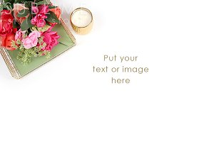 Styled photo with flowers in tray