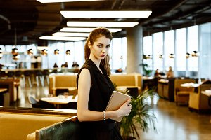 stylish business woman in black