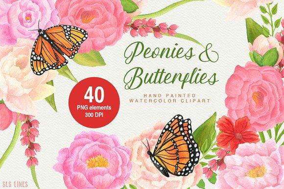 Peonies Butterflies Watercolors