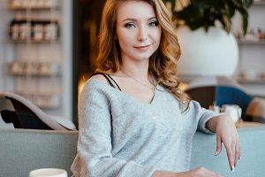 beautiful girl in cafe