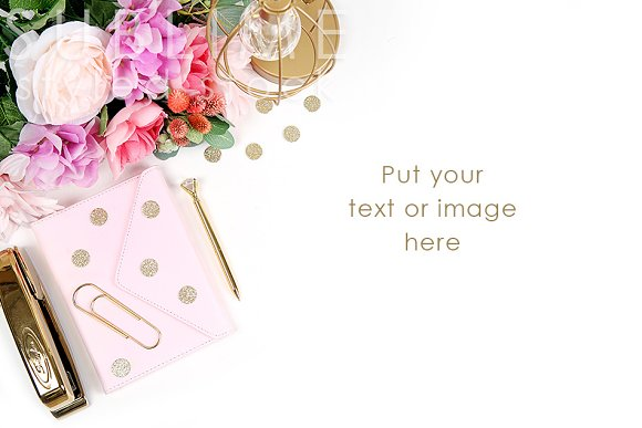 Pink and Gold Styled Stock Photo