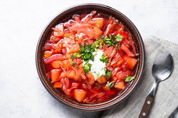Traditional Ukrainian borscht.