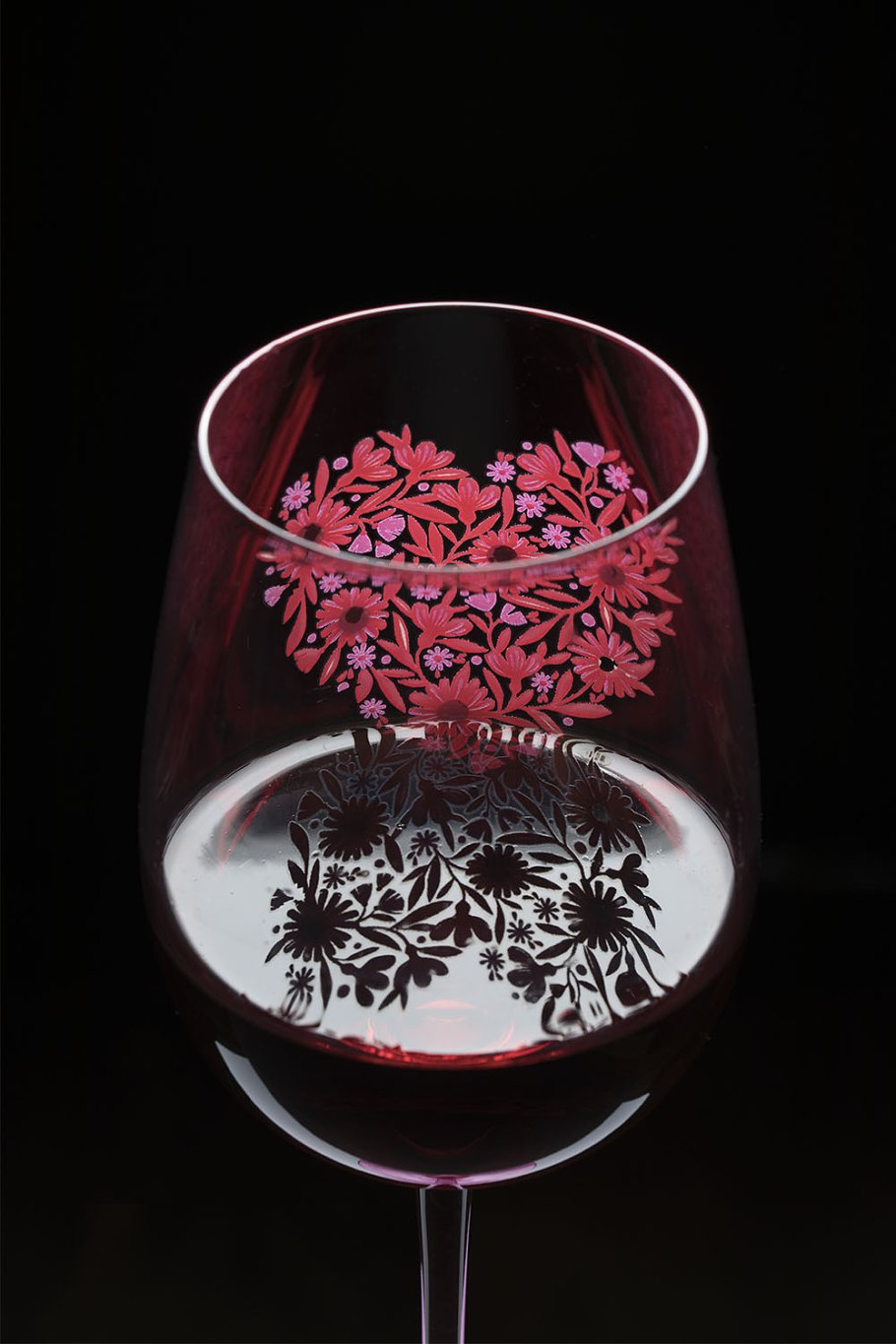Hand Painted Wine Glass With Heart Food Images Creative Market