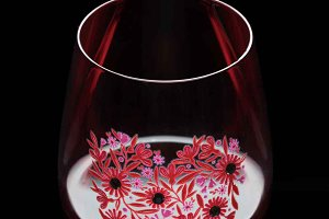 Hand-Painted Wine Glass with Heart