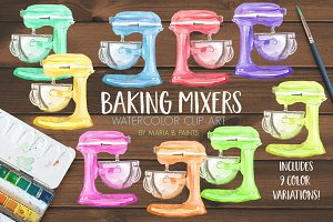 Watercolor Clipart - Baking Mixers