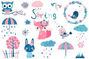 Cute spring clipart set with animals